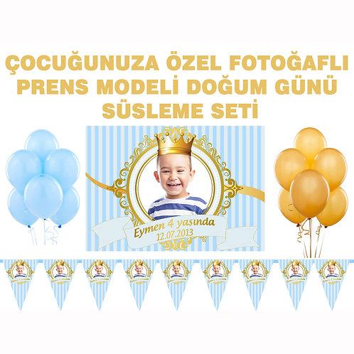Prens Altın Mavi Doğum Günü Süsleme Seti