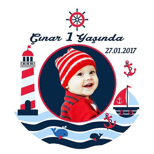Denizci Kişiye Özel Yapışkanlı Sticker Etiket 4 cm