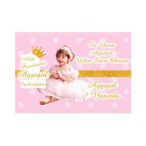 Prenses Simli Pembe Altın Kişiye Özel Anı Kartı 16 Adet