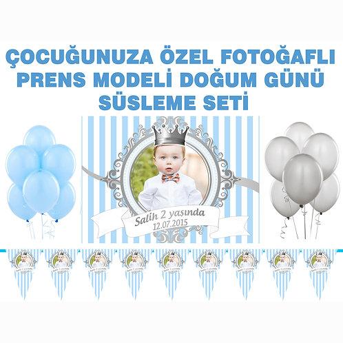 Prens Gümüş Mavi Doğum Günü Süsleme Seti