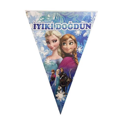 Karlar Ülkesi Elsa Frozen İyiki Doğdun Üçgen Flama