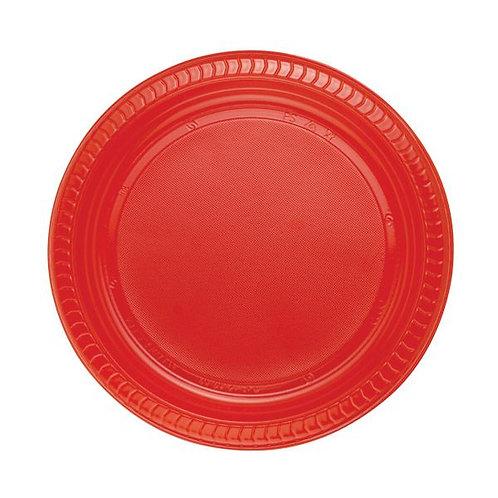 22 cm Kırmızı Plastik Tabak 25 Adet