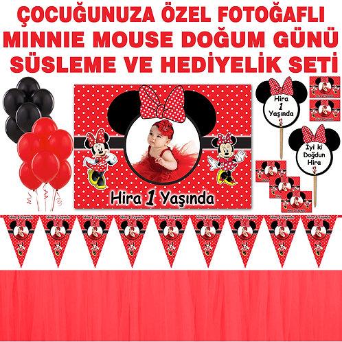 Minnie Mouse Kırmızı Doğum Günü Dekorasyon Süsleme ve Hediyelik Seti