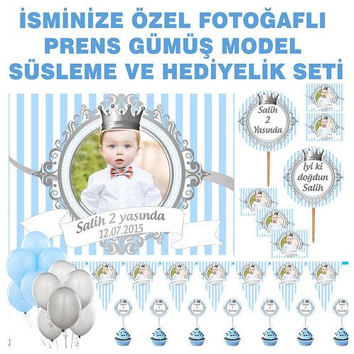 Prens Gümüş Mavi Balonlu Doğum Günü Seti