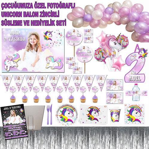 Unicorn Temalı 8 Kişilik Doğum Günü Organizasyon Seti