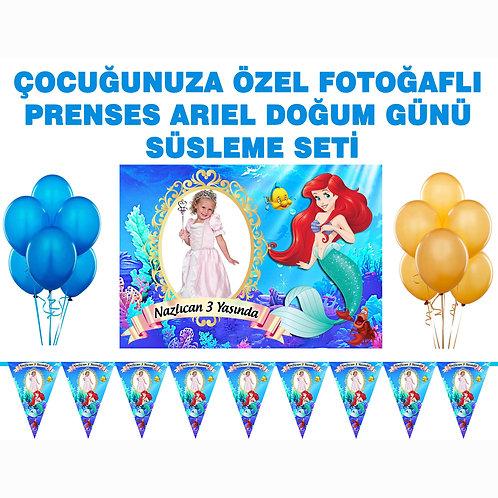 Prenses Ariel Doğum Günü Süsleme Seti