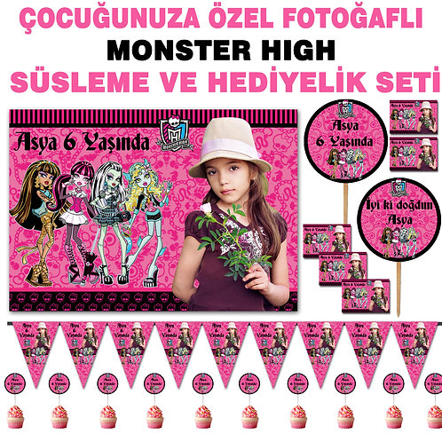Monster High Doğum Günü Süsleme ve Hediyelik Seti