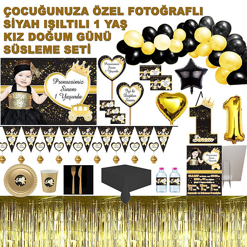 10 Kişilik Altın Siyah 1 Yaş Kız Doğum Günü Organizasyon Seti
