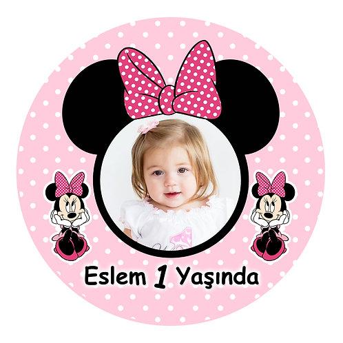 Pembe Minnie Kişiye Özel Yapışkanlı Sticker Etiket 6 cm