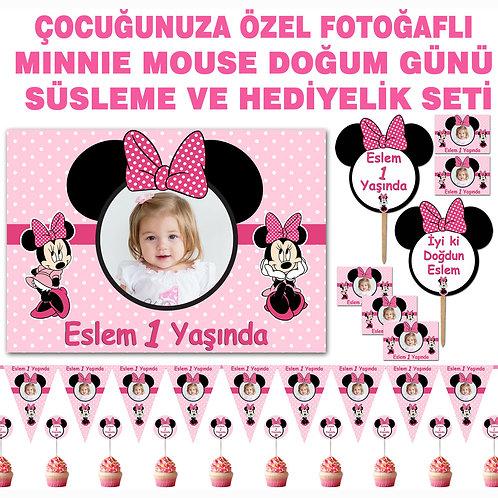 Minnie Mouse Pembe Doğum Günü Süsleme ve Hediyelik Seti
