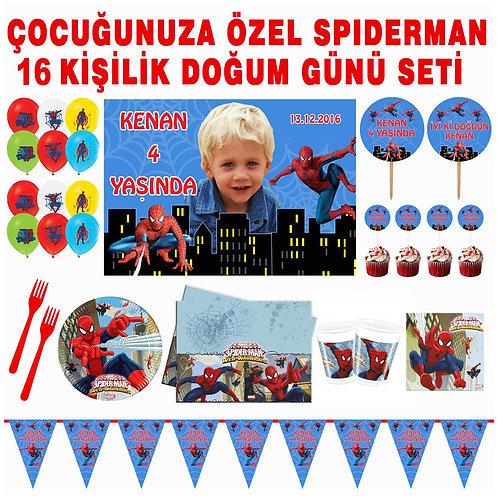 Spiderman 16 Kişilik Doğum Günü Seti