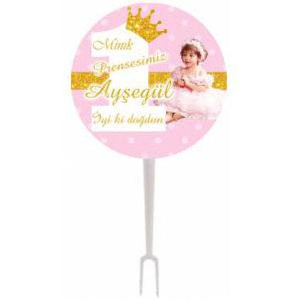 Prenses Pembe Altın Kişiye Özel İkram Kürdanı 15 Adet