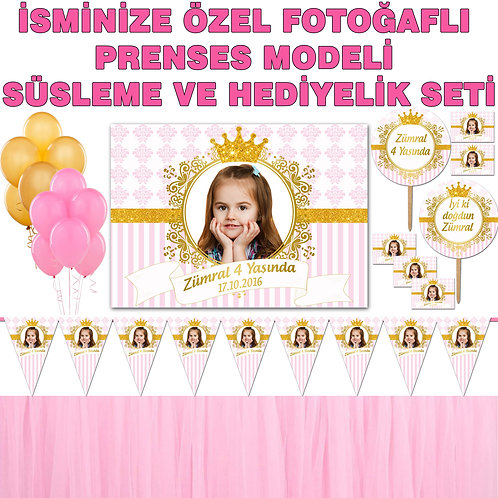Prenses Simli Altın Doğum Günü Dekorasyon Süsleme ve Hediyelik Seti