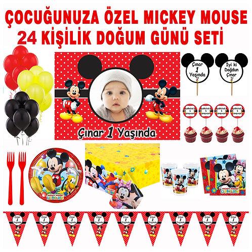 Mickey Mouse 24 Kişilik Doğum Günü Süsleme ve Hediyelik Seti