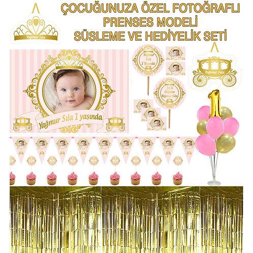 Kişiye Özel Somon Altın Prenses Büyük Doğum Günü Seti