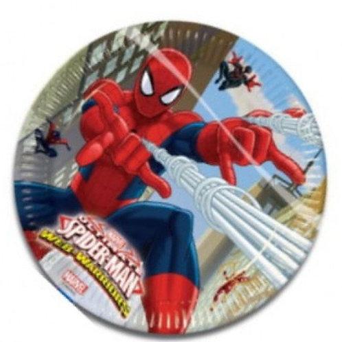 Örümcek Adam Spiderman Karton Tabak 8 Adet