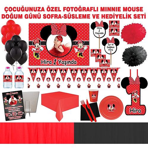 Minnie Mouse Kırmızı 20 Kişilik Tüllü Sofra Set
