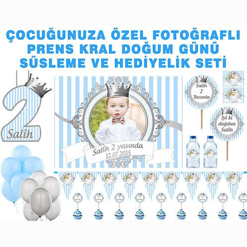 Prens Gümüş Mavi Doğum Günü Parti Seti