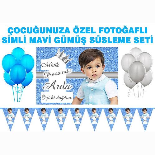 Simli Mavi Gümüş Doğum Günü Süsleme Seti
