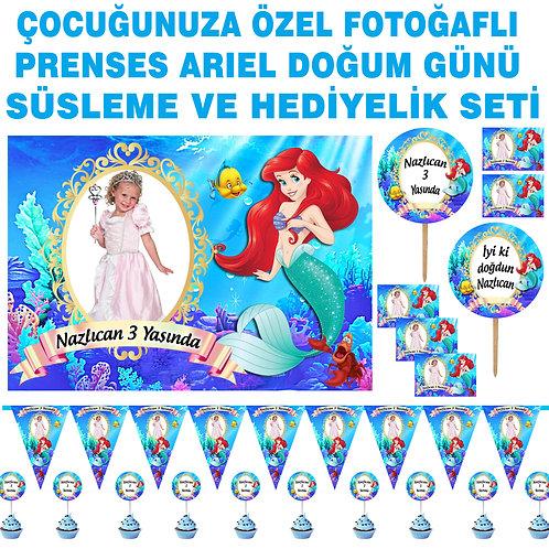 Prenses Ariel Doğum Günü Süsleme ve Hediyelik Seti