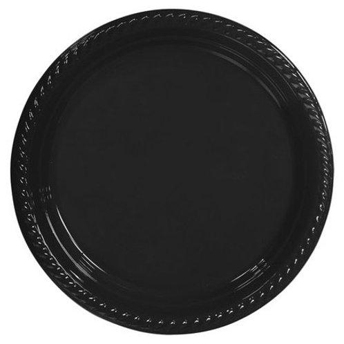 22 cm Siyah Plastik Tabak 25 Adet