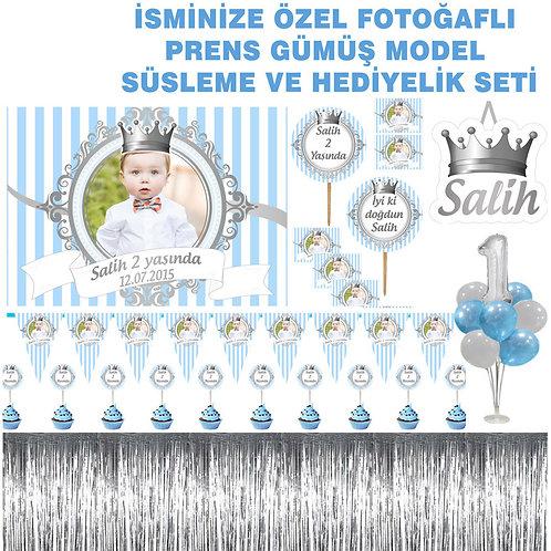 Kişiye Özel Mavi Gümüş Prens Büyük Doğum Günü Seti