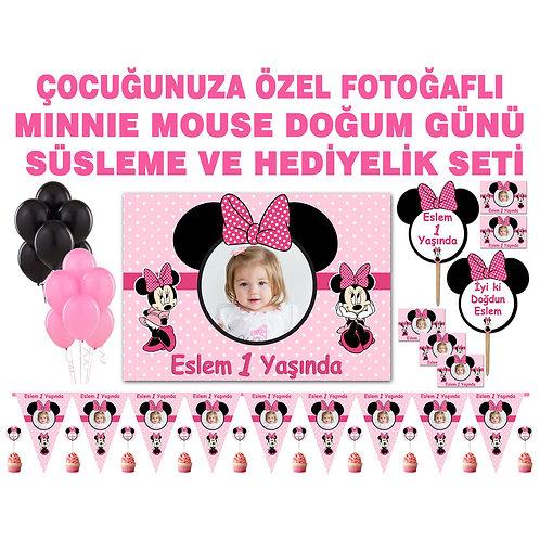 Minnie Mouse Pembe Balonlu Doğum Günü Süsleme Seti