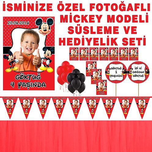 Mickey Mouse Kırmızı Doğum Günü Dekorasyon Süsleme ve Hediyelik Seti