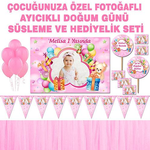 Pembe Balonlu Ayıcık Doğum Günü Dekorasyon Süsleme ve Hediyelik Seti