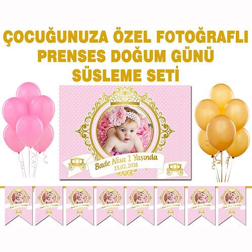 Pembe Altın Prenses Doğum Günü Süsleme Seti
