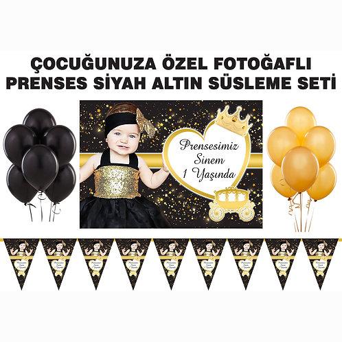 Simli Altın Siyah Prenses Doğum Günü Süsleme Seti