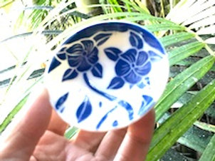 Small Blue and White Carved Dish