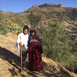 In Lalibela, Ethiopia with spiritual men