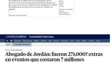 Abogado de Jordán: fueron 271.000 extras en eventos que costaron 7 millones.