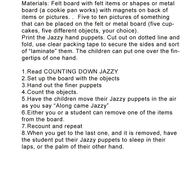 Counting Down Jazzy hand puppet activiti