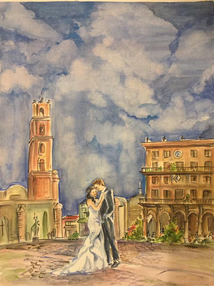 Destination wedding painting