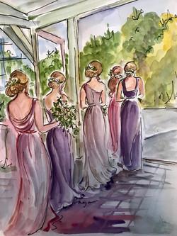 Bridesmaids walking out