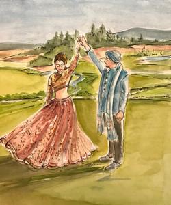 A golf course bridal twirl