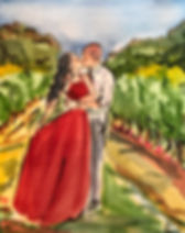 engagement in a vineyard