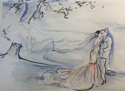 flowing veil sketch