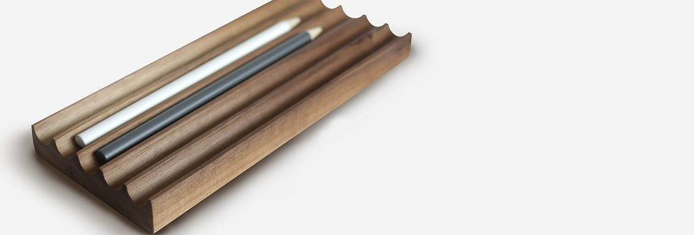Pen and pencil rest tray also use as a paperweight american black walnut with five slots