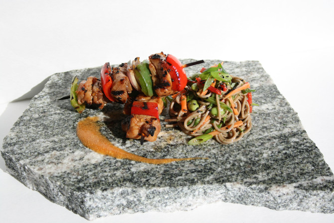 Spicy Sesame Chicken Skewers with Soba Noodle Salad