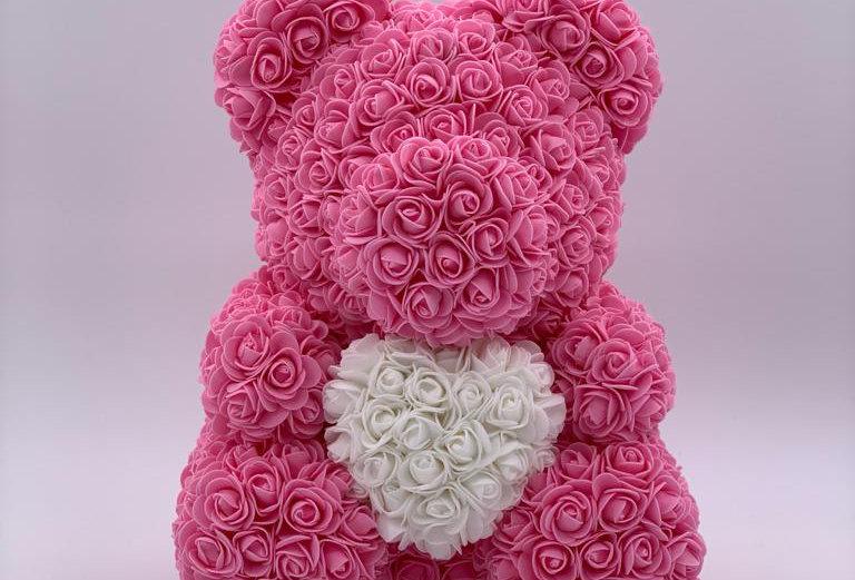 Rosenteddy mit Herz (40cm) rosa inklusive Geschenkbox