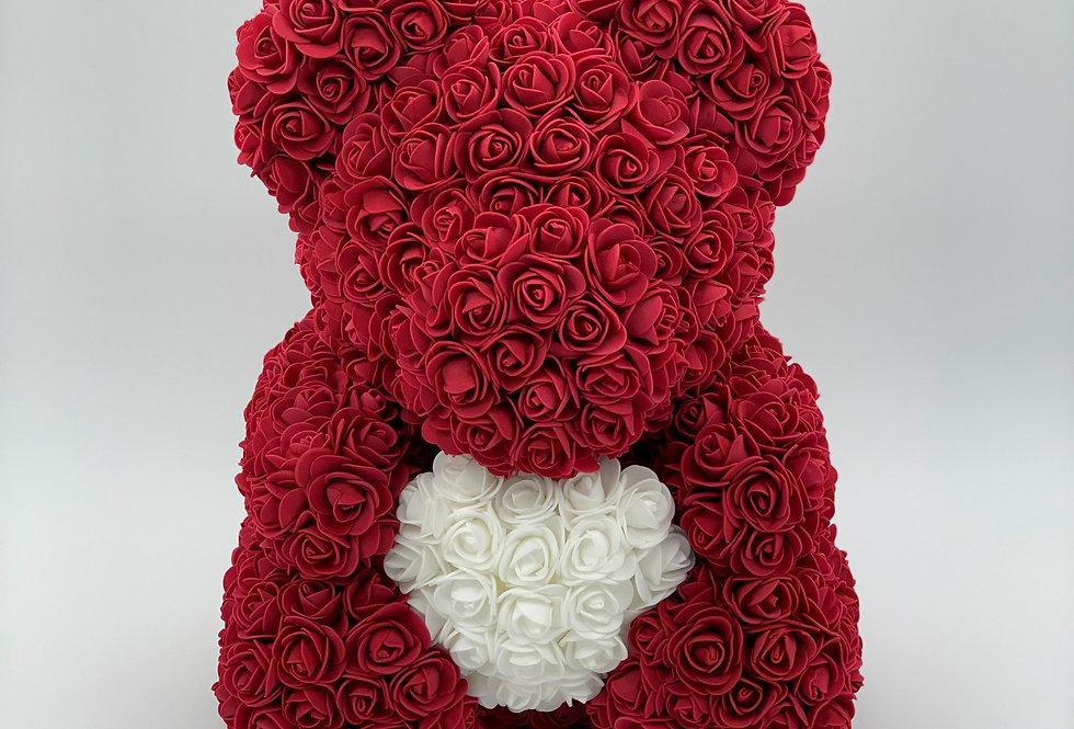 Rosenteddy mit Herz (40cm) weinrot inklusive Geschenkbox