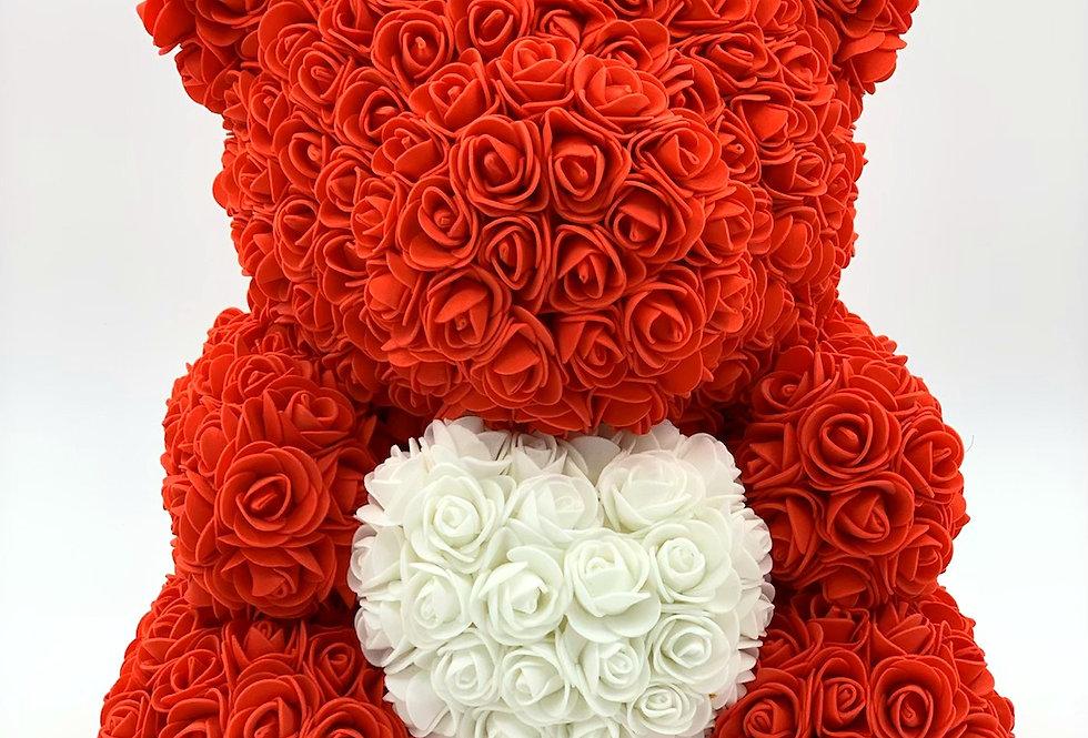 Rosenteddy mit Herz (40cm) rot inklusive Geschenkbox