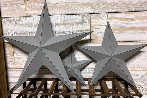 Grey metal barn stars