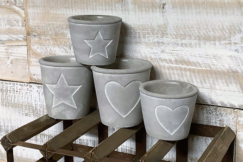 Cement pots with inset heart/star