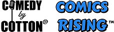 Comedy by Cotton logo alongside Comics Rising logo