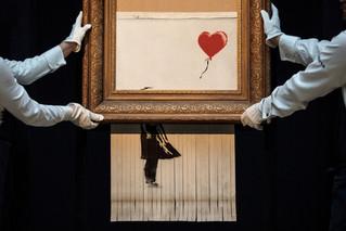 Banksy-schilderij moest eigenlijk helemaal door de versnipperaar
