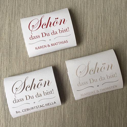 """personalisierte Banderolen für quadratische Minischokolade """"elegant"""""""